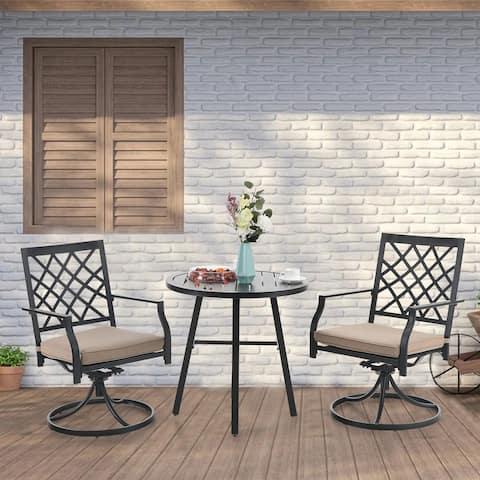 PHI VILLA 3 Pieces Patio Bistro Set Outdoor Metal Furniture Dining Sets