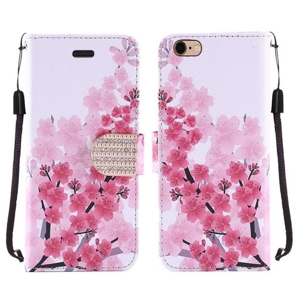 Insten Pink/ White Cherry Blossom Hard PC/ Silicone Dual Layer Hybrid Case with Stand For Apple iPhone 6 Plus/ 6s Plus
