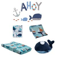 Lambs & Ivy Ahoy Blue/White Nautical Ocean Nursery 5-Piece Baby Crib Bedding Set
