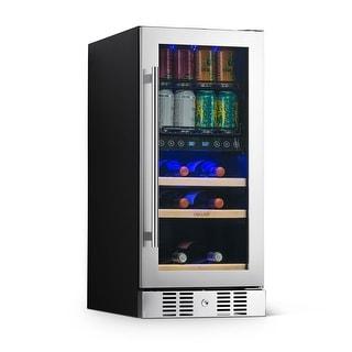 Link to NewAir SplitShelf Built-In Wine & Beverage Cooler for 9-Bottle Wine & 48 Can Cellar Fridge Refrigerator - Stainless Steel Similar Items in Large Appliances