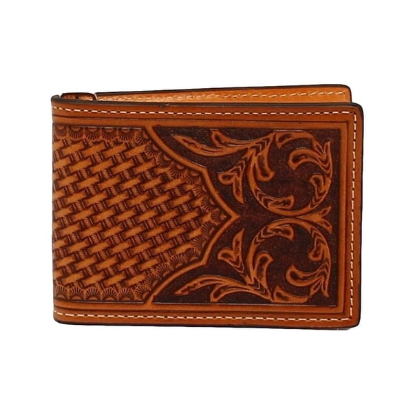 Nocona Western Wallet Mens Leather Bifold Tooled Natural Tan - One size
