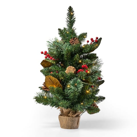 "Nathan 24"" Pine Pre-Lit Clear LED Pre-Decorated Artificial Christmas Tree by Christopher Knight Home"