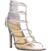 MG35 Raissa Strappy Bejeweled Dress Sandals, Silver