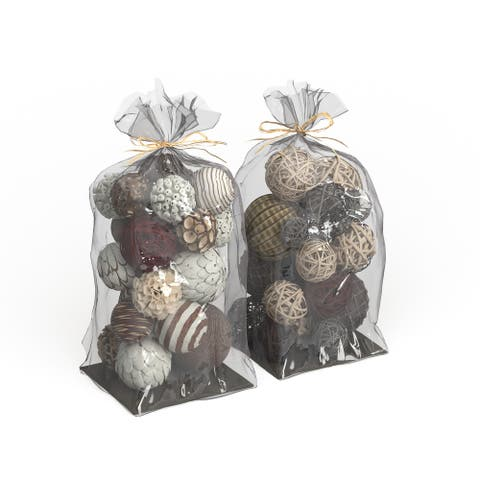 Copper Grove Sharbot 2-piece Tan/ White/ Brown Natural Dried Flower Sola Balls Set
