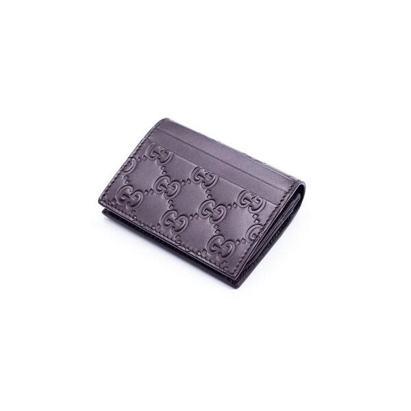 Gucci Women's Brown Leather GG Supreme Canvas Card Case