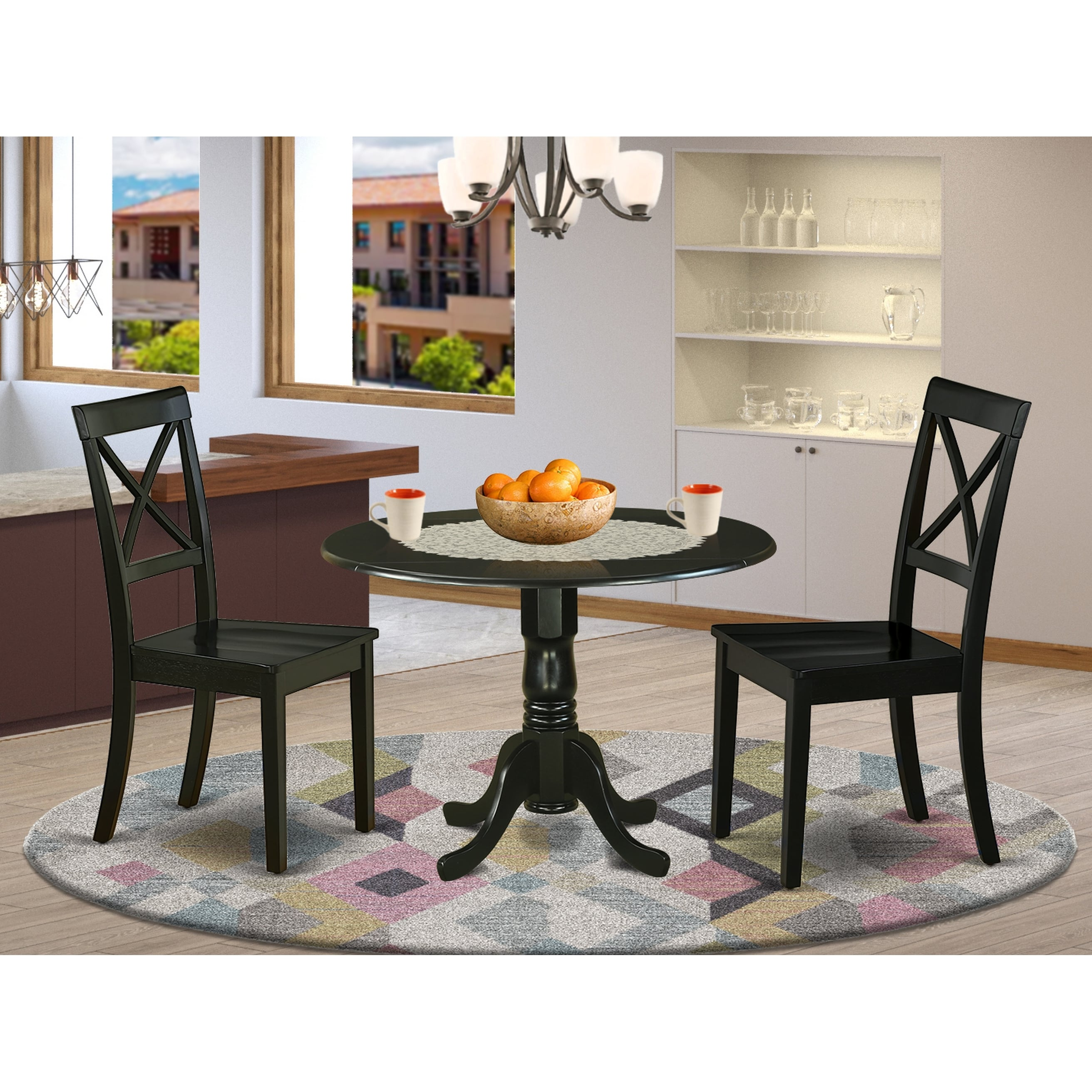 Round 42 Inch Table And Wood Seat Chairs Kitchen Set In Black Finish Number Of Chairs Option Overstock 28712125