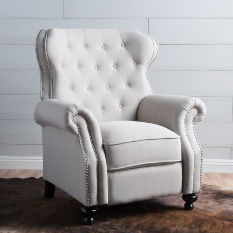Walder Contemporary Tufted Fabric Recliner with Nailhead Trim by Christopher Knight Home