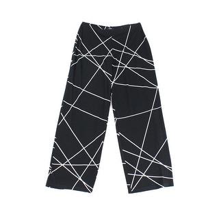 Alfani NEW Black Womens Size Medium M Wide Leg Cross Striped Pants