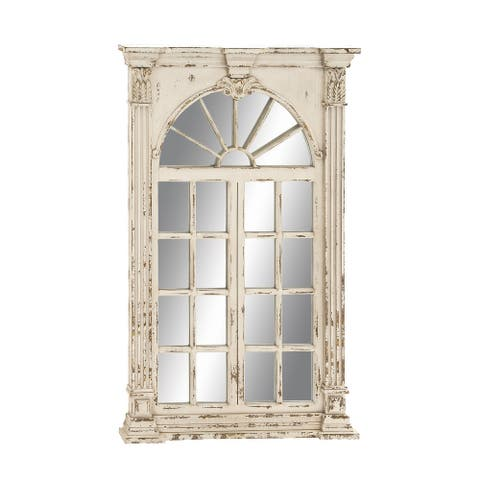 "Extra Large Rectangular Antique White Window Framed Wall Mirror 33"" X 52"" - Cream - 33 x 3 x 52"