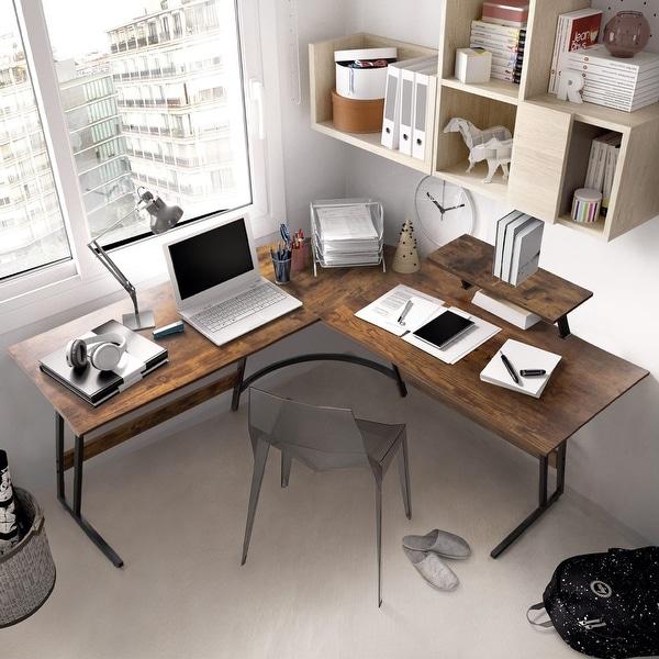 L-Shaped Desk Computer Corner Desk Office Writing Study Desk. Opens flyout.