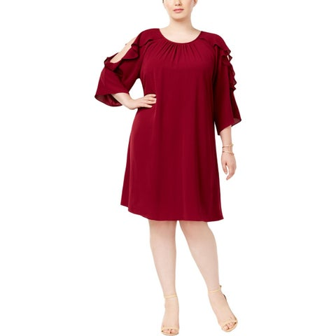 Jessica Howard Womens Plus Cocktail Dress Cold Shoulder Special Occasion