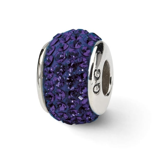 Sterling Silver Reflections Purple/Violet Full Swarovski Elements Bead (4mm Diameter Hole)