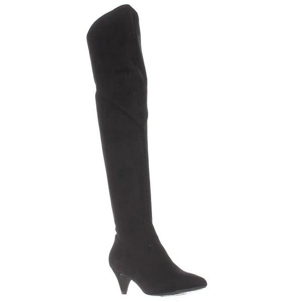 Impo Edeva Over-The-Knee Kitten Heel Boots, Black