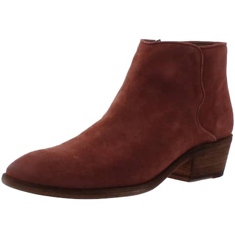 Frye Womens Carson Ankle Boots Suede Stacked Heel - Rosewood Oiled Suede