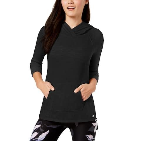 Calvin Klein Performance Textured Crossover-Neckline Hoodie (Black, L)