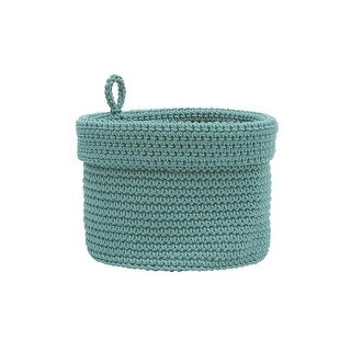 10 x 10 in. Mode Crochet Basket with Loop, Sea Spray
