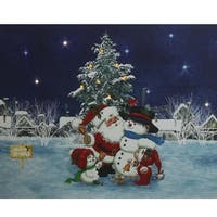 """LED Lighted Santa Claus with Snowmen and Christmas Tree Canvas Wall Art 15.75"""" x 19.5"""" - Blue"""