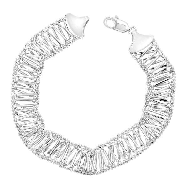 Beaded Chain Bracelet in Sterling Silver