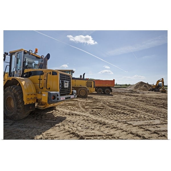 """""""Construction vehicles on work site"""" Poster Print"""