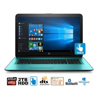"""HP 17-y026cy Laptop, AMD A12, 12GB, 2TB HDD, 17.3"""" HD+ Touch WLED, MS Office 365 (Certified Refurbished) - Green"""