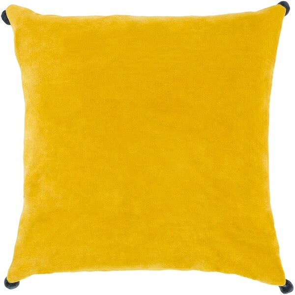 "18"" Lemon Yellow Decorative Throw Pillow with Pom Pom Edges - Down Filler"