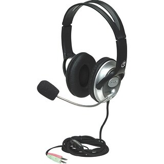 Manhattan Classic Stereo Headset with Flexible Microphone Boom - Adjustable in-line volume control