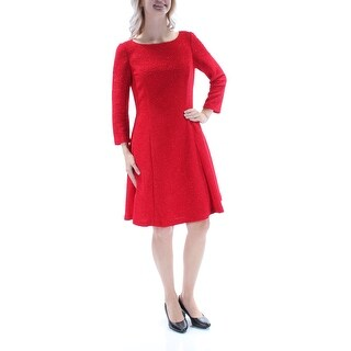 Womens Red Long Sleeve Knee Length Party Dress Size: 6