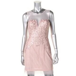 BCBG Max Azria Womens Petites Lace Sequined Cocktail Dress - 0p