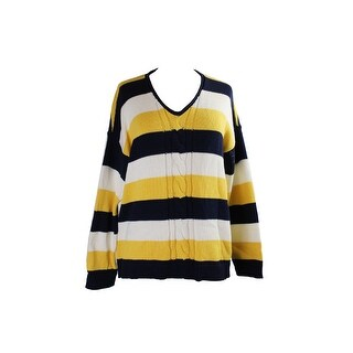 American Living Yellow Navy Striped V-Neck Sweater XL