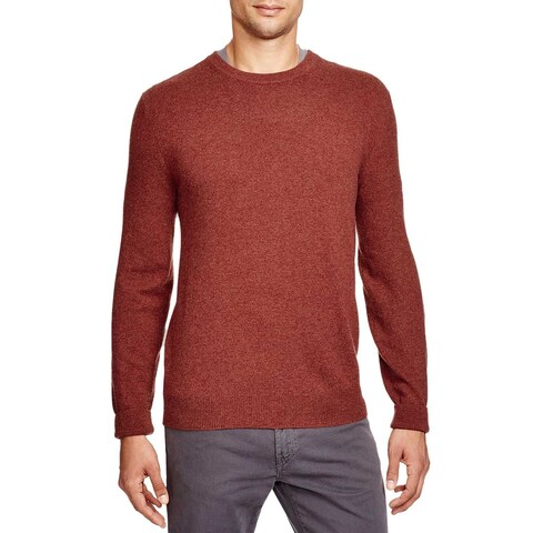 Bloomingdales Mens 2-Ply Cashmere Crewneck Sweater Large Cinnamon Elbow Patches
