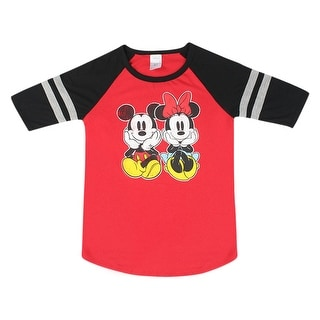Disney Mickey & Minnie Mouse Cute Sitting Women's Red Jersey Stripes