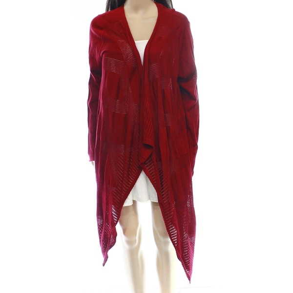 Max Studio NEW Red Women's Size Large L Draped Cardigan Knit Sweater