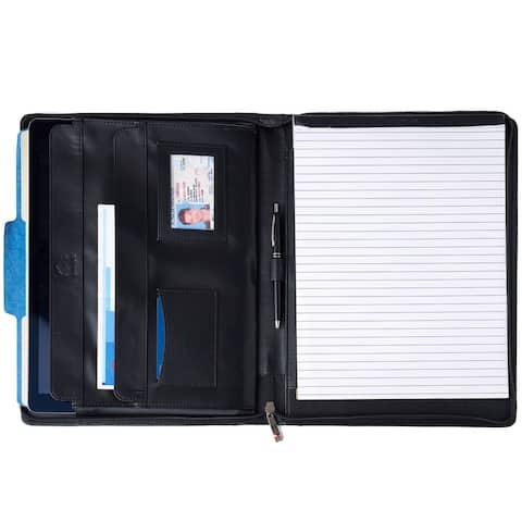 Alpine Swiss Leather Zippered Writing Pad Portfolio Business Organizer - One Size