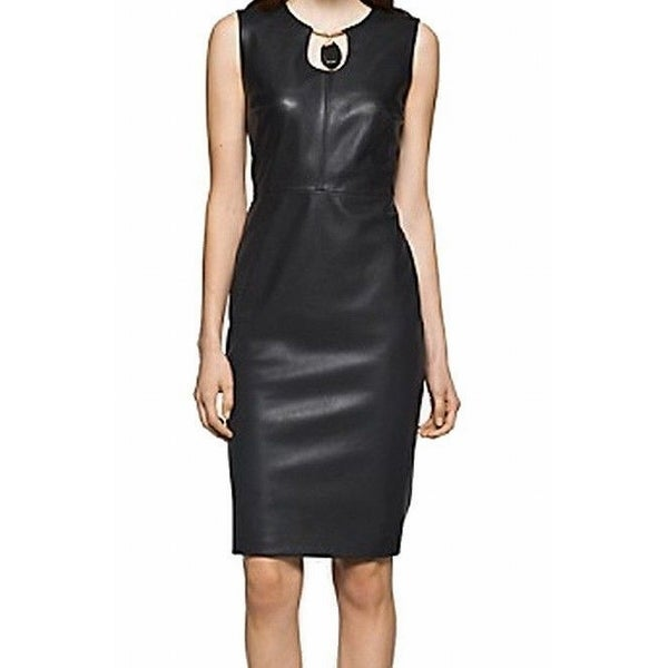 a0e89983587 Shop Calvin Klein NEW Black Faux-Leather Women s Size 12 Gold Sheath Dress  - Free Shipping Today - Overstock - 18412582