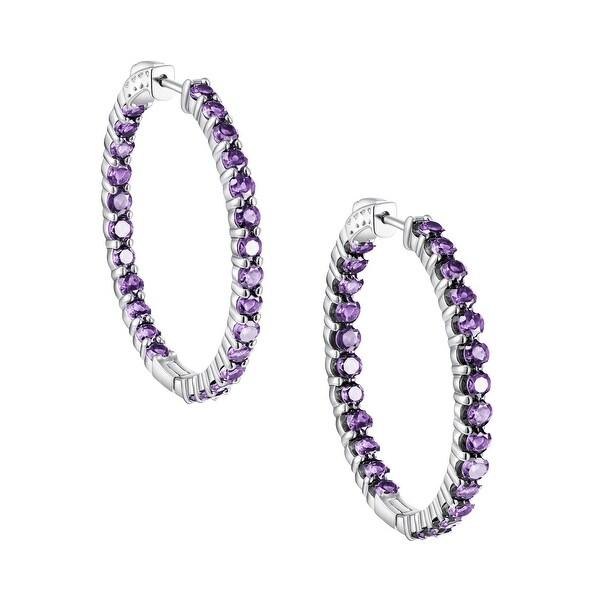 Inside-Out Round Cut Gemstone Hoop Earrings, Sterling Silver. Opens flyout.