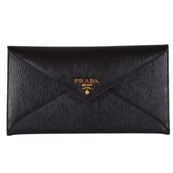 0aae9604fa0c Prada 1MF175 Black Vitello Saffiano Leather Flap Envelope Wallet Clutch -  7.75