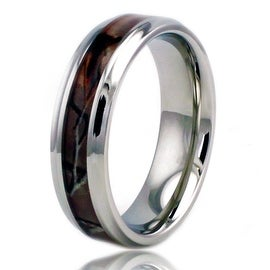 6 5mm Stainless Steel Camo Wood Design Inlay High Polish Ring W Step Down Edge