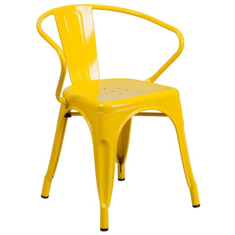 """Metal Indoor-Outdoor Chair with Arms - 21.5""""W x 19""""D x 27.75""""H"""