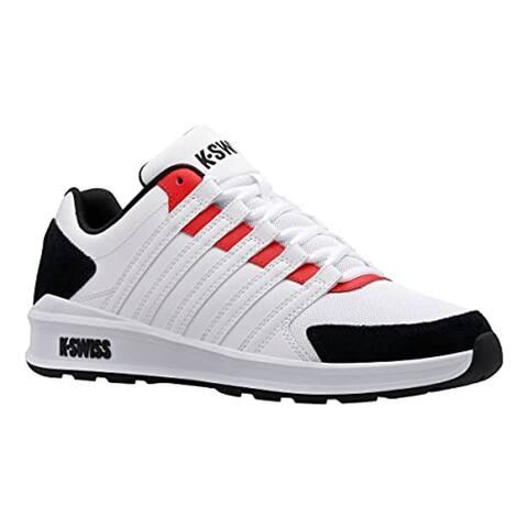 K-Swiss Men's Vista Trainer Sneaker, White/Black/Red