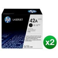 HP 42A High Yield Black Original LaserJet Toner Cartridge (Q5942A)(2-Pack)