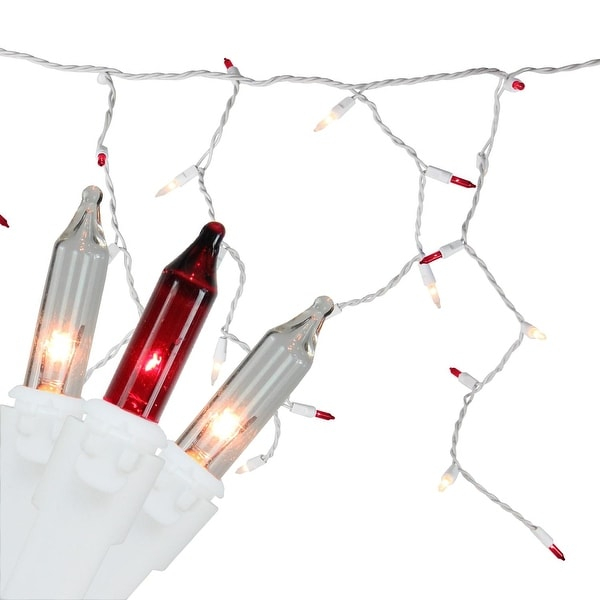 """Set of 150 Red & Clear Mini Icicle Christmas Lights 3"""" Spacing - White Wire"""