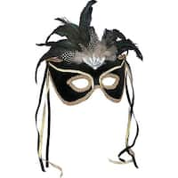 Black & Gold Venetian Costume Mask Adult One Size
