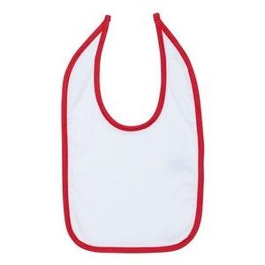 Rabbit Skins Infant Contrast Trim Premium Jersey Bib - White/ Red - One Size