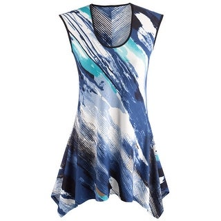 Women's Sleeveless Tunic Top - Waves Of Color Blue and White Blouse