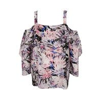 Nydj Pink Martinique Palms Ruffled Cold-Shoulder Blouse M