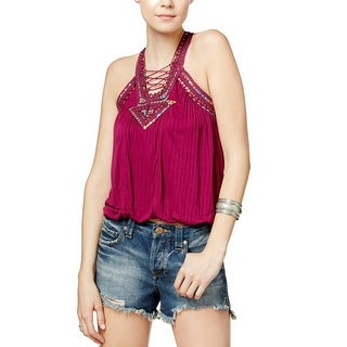 Free People Dakota Embellished Lace-Up Top - xs