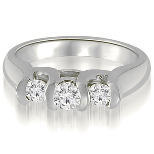 1.00 cttw. 14K White Gold Three-Stone Bezel Round Cut Diamond Engagement Ring