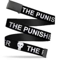 Marvel Universe Blank Black  Buckle The Punisher W Logo Black White Web Belt