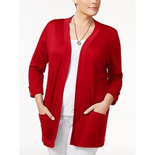 Karen Scott Three-Quarter-Sleeve Cardigan, Garnet, Size S - Red