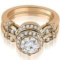 0.77 cttw. 14K Rose Gold Antique Round Cut Diamond Engagement Set - Thumbnail 0